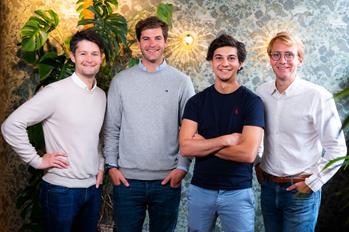 Sortlist lève 11 millions et va s'implanter en Angleterre - De gauche à droite: Nicolas Finet, Charles De Groote, Michael Valette, Thibaut Vanderhofstadt
