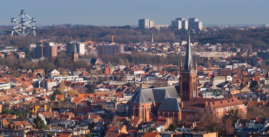 Belgium, Brussels, Koekelberg, Basilique nationale du Sacre-Coeur basilica, elevated city skyline view from the roof towards the Atomium in Heysel